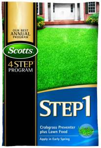 Scotts Step 1 Crabgrass Preventer Plus Lawn Food, your lawn's first course