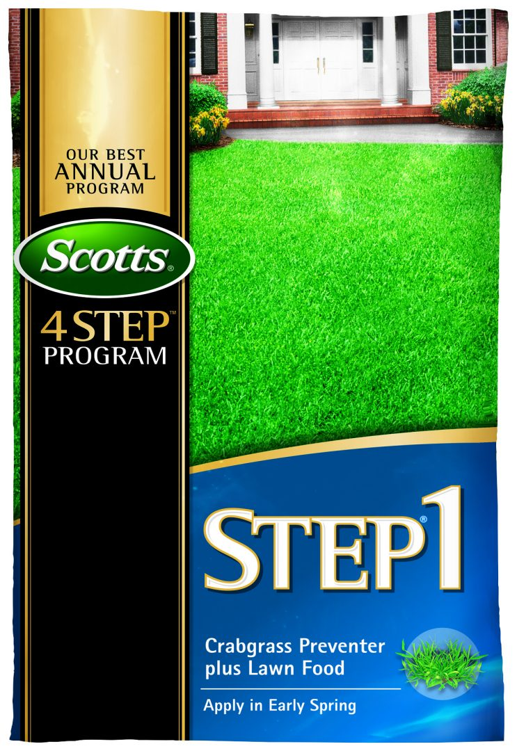 Cater to your hungry lawn this April with Scotts® Step® 1 Crabgrass Preventer Plus Lawn Food, available at Rocky's Ace Hardware.