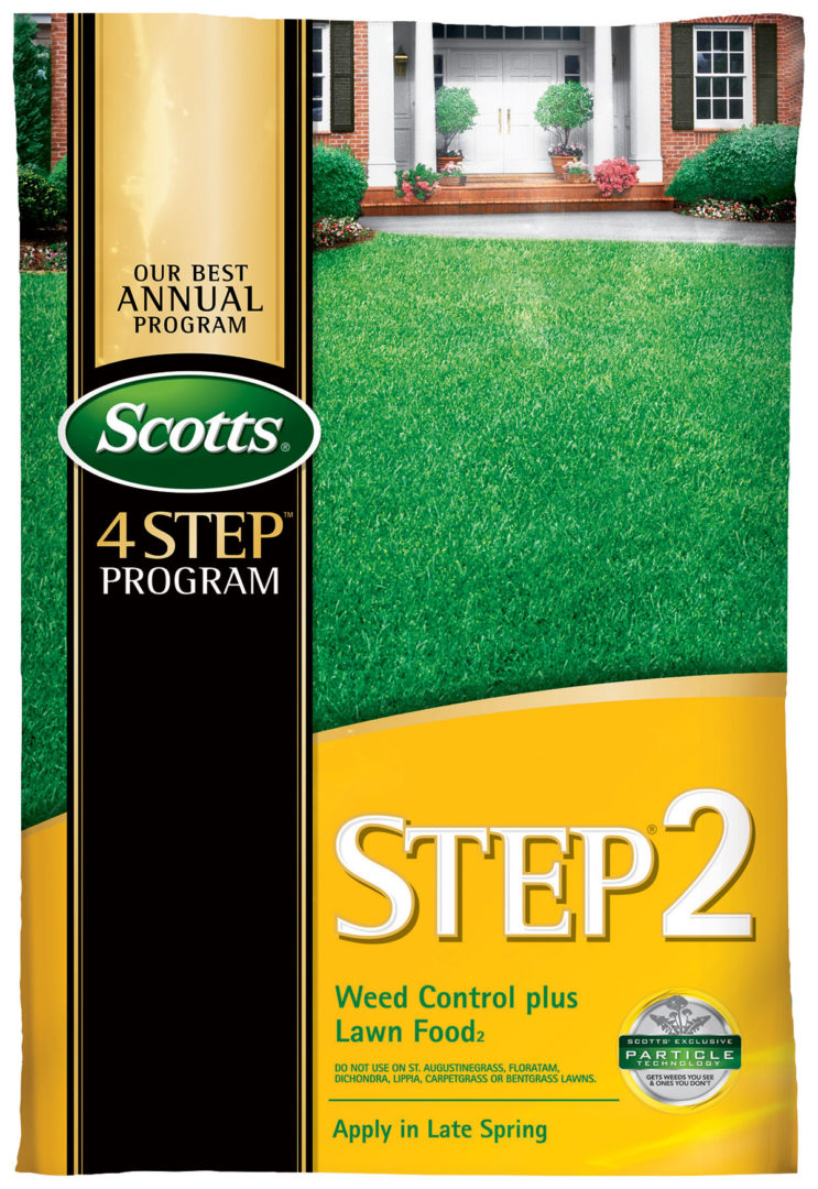 Weeds beware when you treat your lawn with Scotts® Step® 2 Weed Control Plus Lawn Food